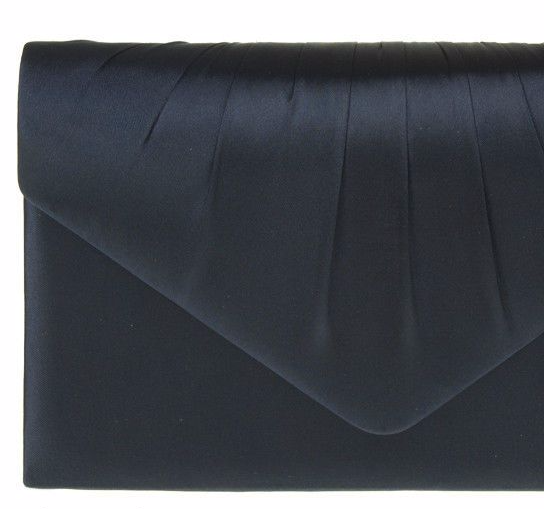 Navy Clutch Bag Ladies Dark Blue Satin Evening Bag Wedding Shoulder Bag Prom Handbag